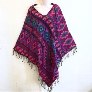 Sacred Threads hippie boho acrylic poncho